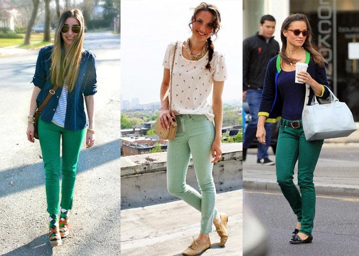 С чем носить оригинальные зеленые джинсы