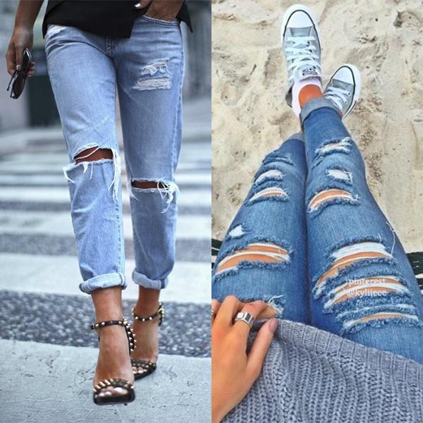 С чем носить рваные джинсы девушке