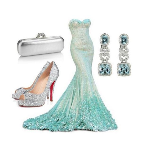 С чем носить вечернее бирюзовое платье