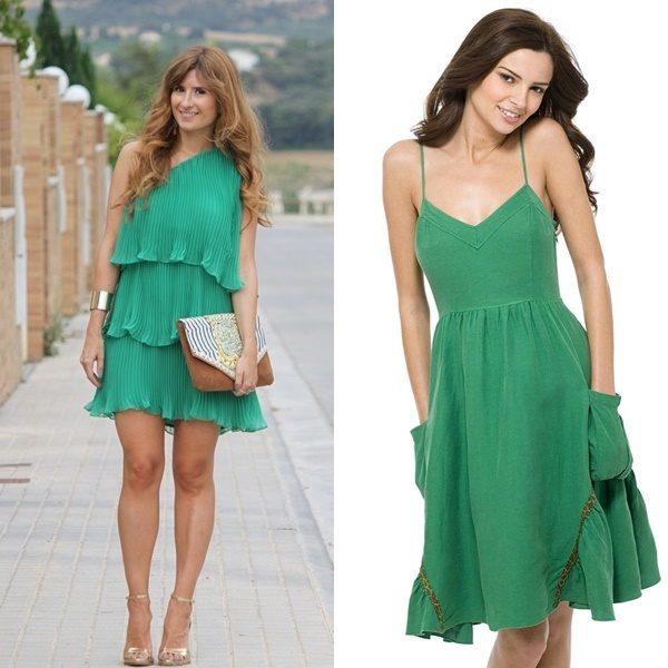 С чем носить зеленое платье и юбку