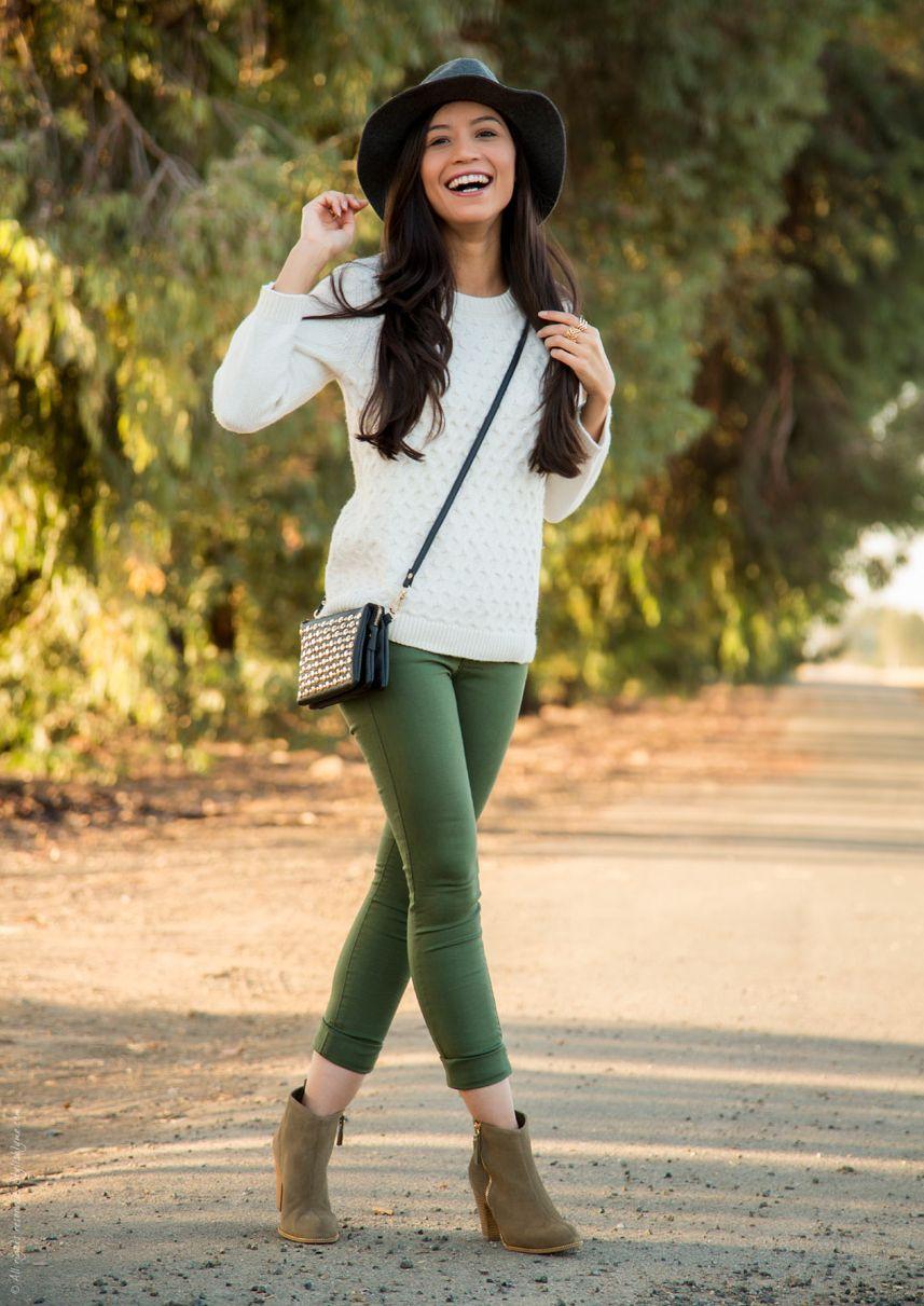 С чем носить зеленые штаны