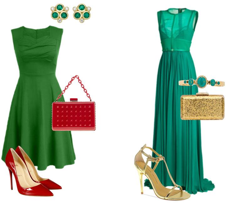 С чем носить зелёное платье