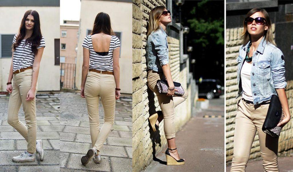 С чем одеть бежевые брюки