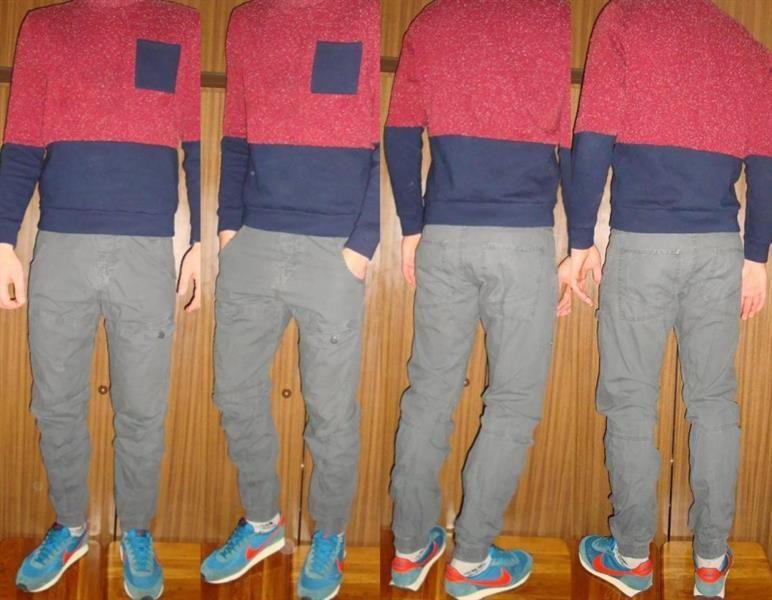 Серые модные джинсы для парня