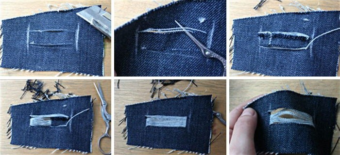 Схема самостоятельного проделывания дырок в джинсах