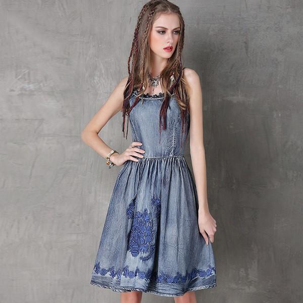 Синее платье деним