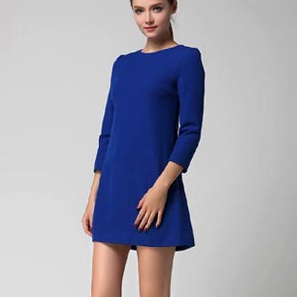 Синее платье с бантиком на спине