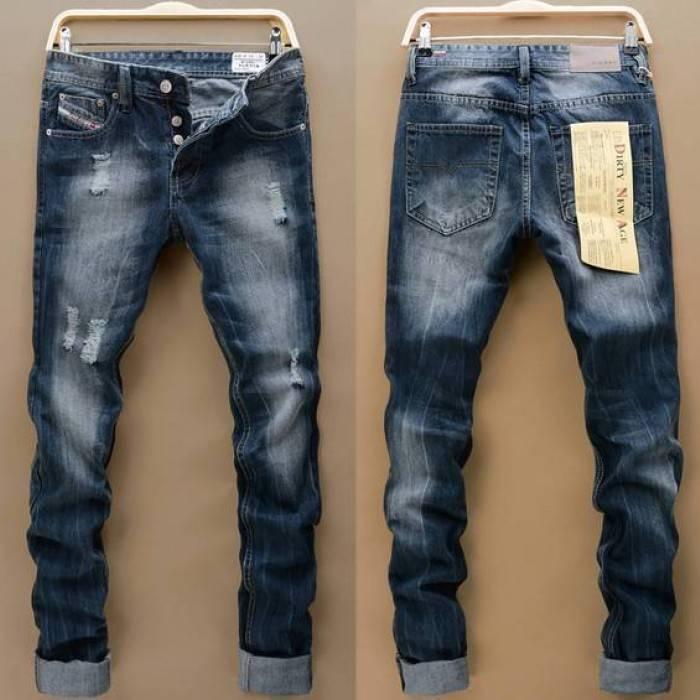 Синие рваные штаны Diesel