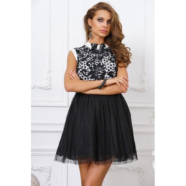 Стильное черно-белое коктейльное платье с пышной юбкой, короткое
