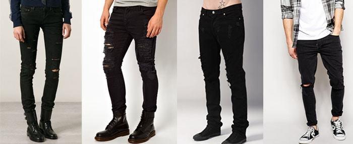 Стильные джинсы рваные с дырками на коленях мужские