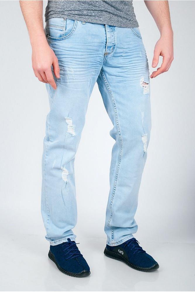 Стильные мужские джинсы с декоративными дырками голубые
