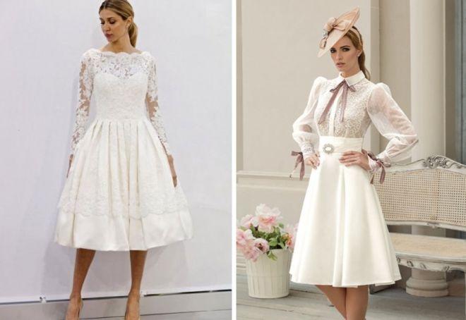 Свадебное платье миди с рукавами