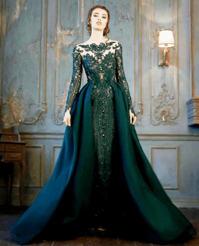Свадебный наряд в зеленом цвете