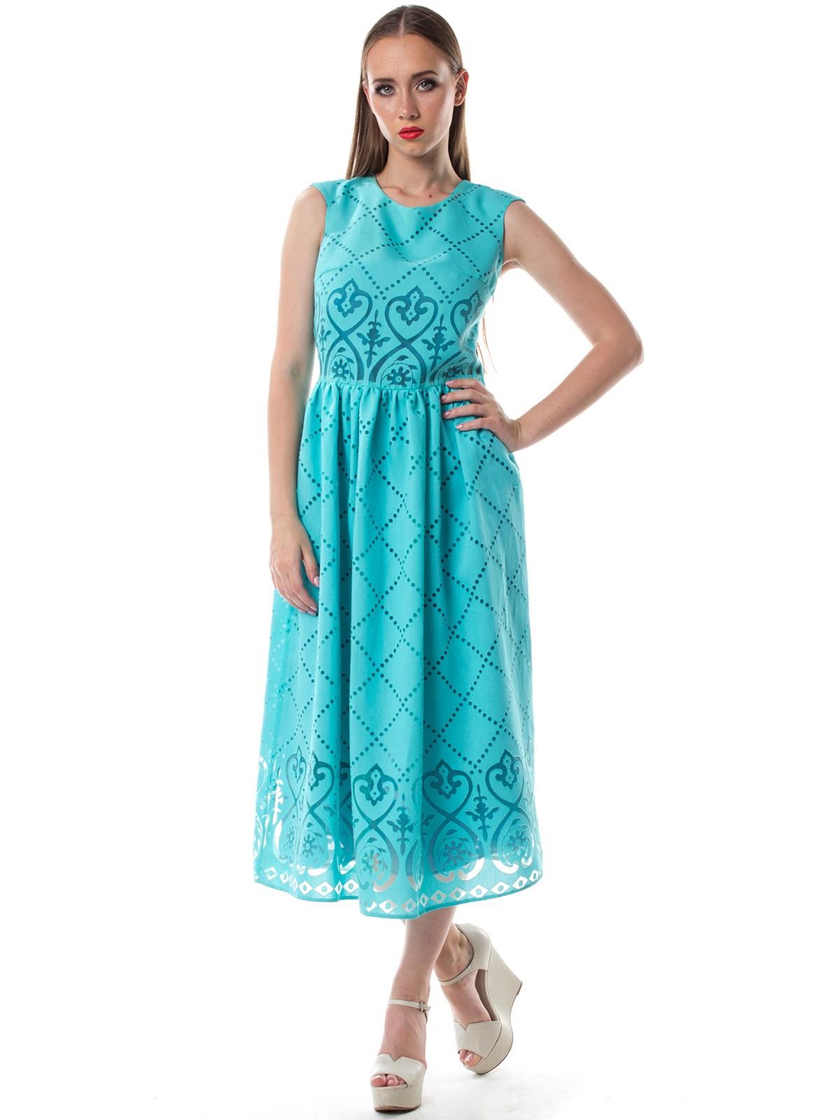 Светло-бирюзовое платье в пол