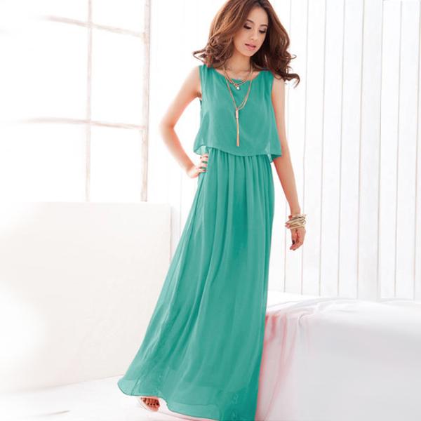 Цветное платье-сарафан в пол