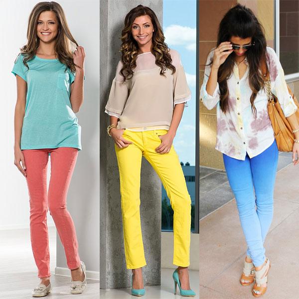 Цветные модные джинсы