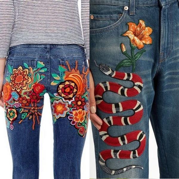 Цветные цветочные вышивк