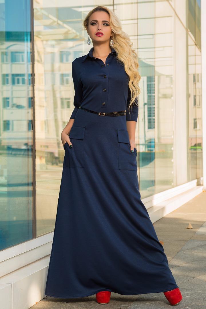 Темно-синее платье