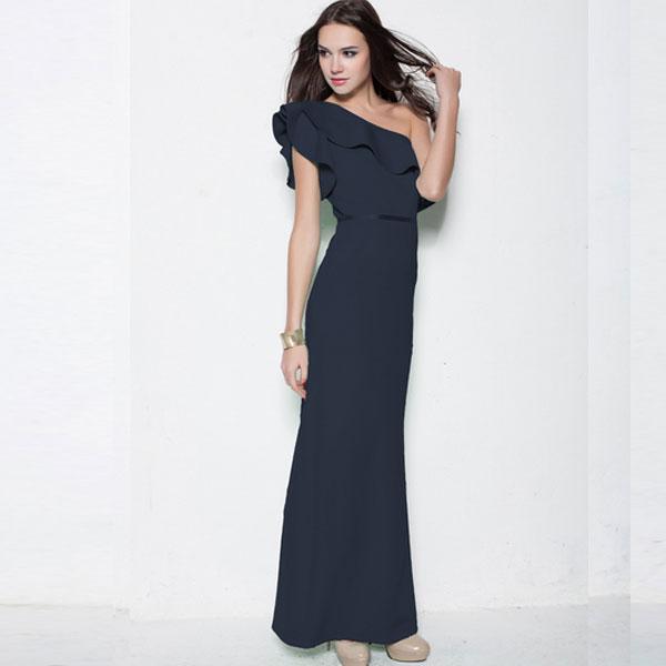 Темно-синее вечернее платье на одно плечо с оборкой-воланом на груди