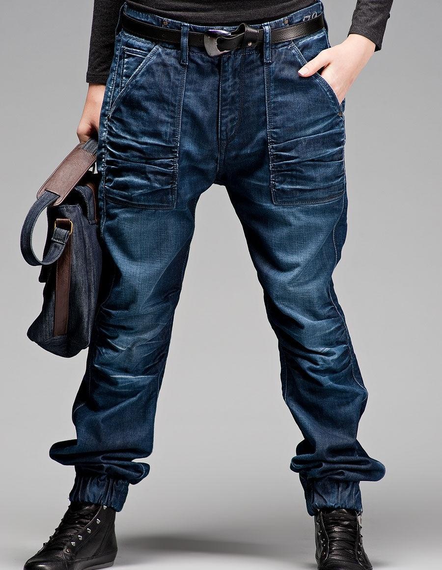 Темно синие джинсы с мотней