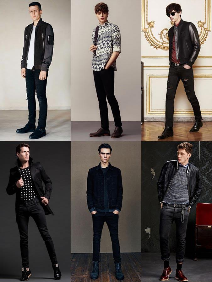 Темный оттенок современных джинсов