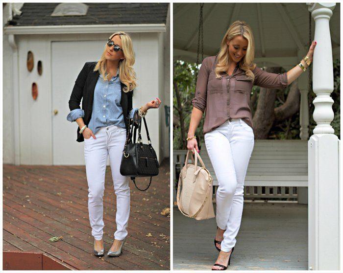 Удачные сочетания со светлыми джинсами