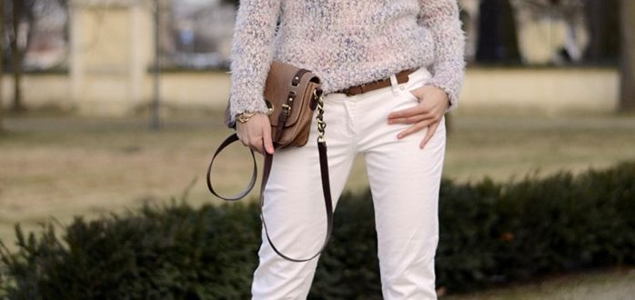 Укороченные дудочки белого цвета для женщины 40 лет