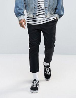 Укороченные джинсы черного цвета