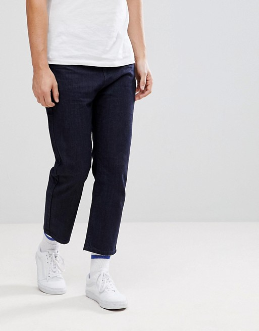 Укороченные джинсы цвета индиго