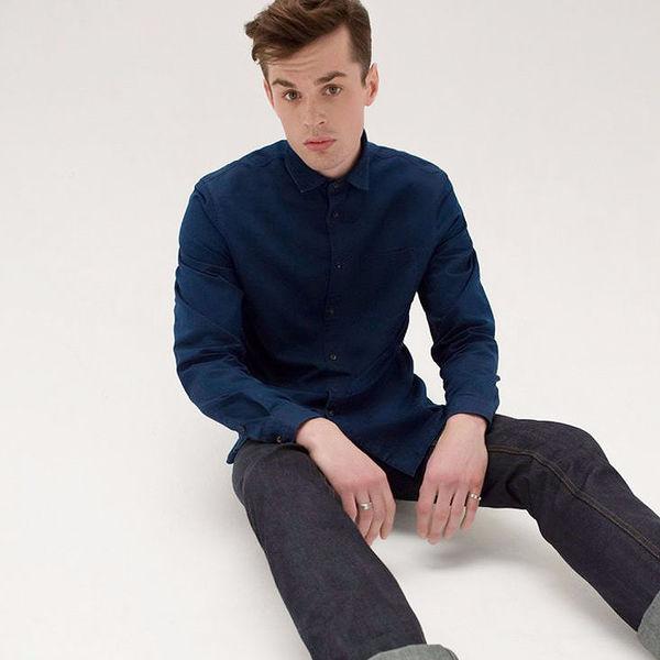 Узкие джинсы с кожаными вставками