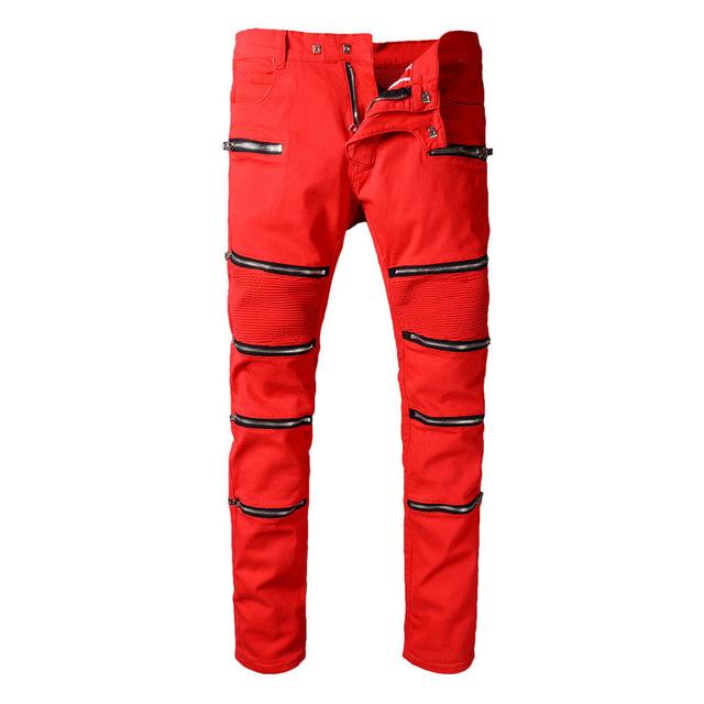 Узкие рваные штаны красного цвета