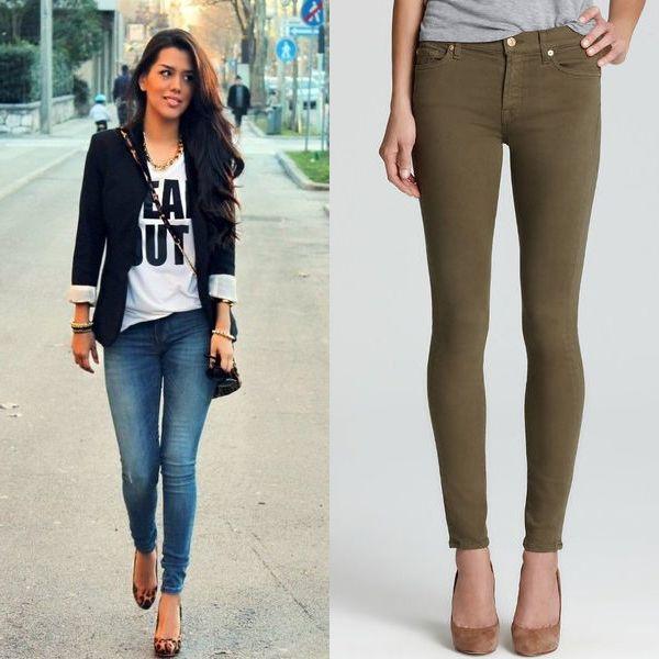 Узкие современные джинсы