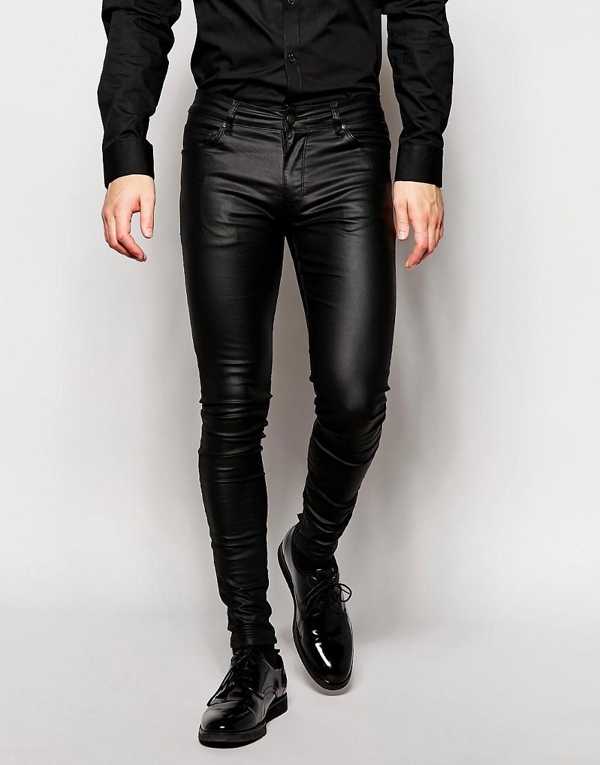 Узкий фасон кожаных штанов