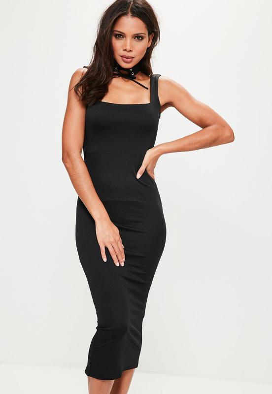 Вечернее черное обтягивающее платье миди