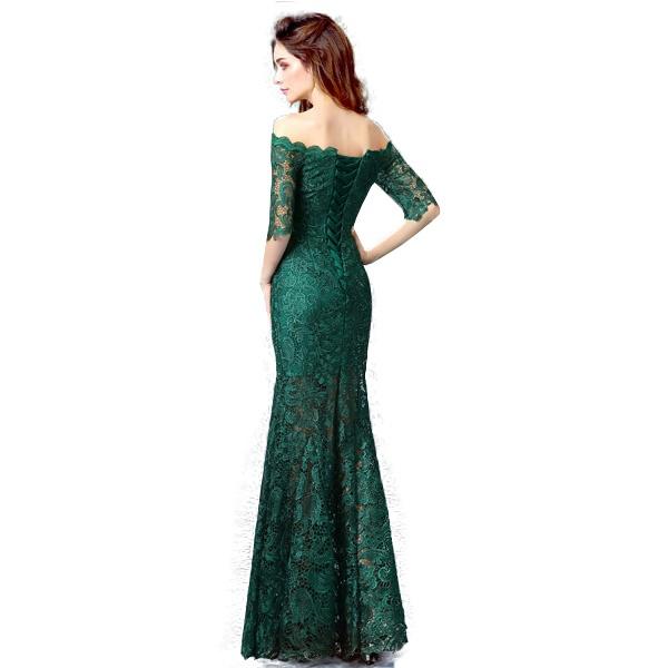 Вечернее кружевное платье изумрудного цвета