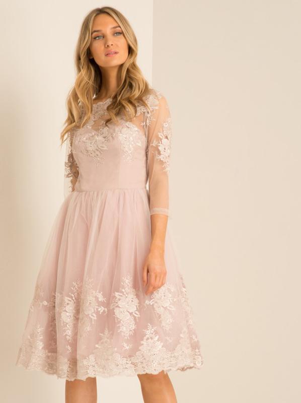 Вечернее пудроовое платье