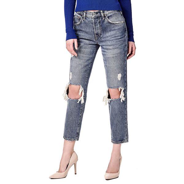 Женские джинсы дудочки с рваными элементами