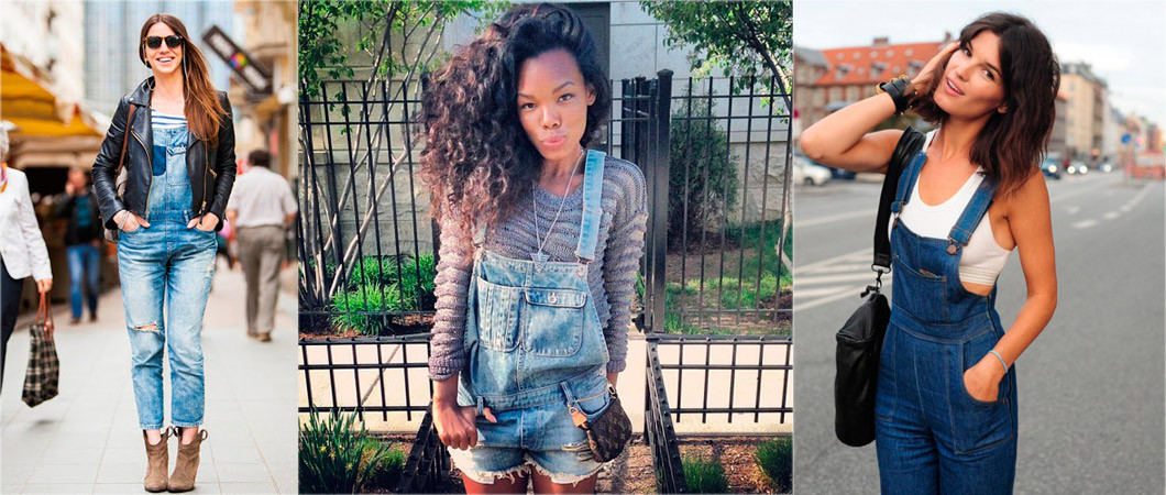 Женский джинсовый комбинезон - с чем носить
