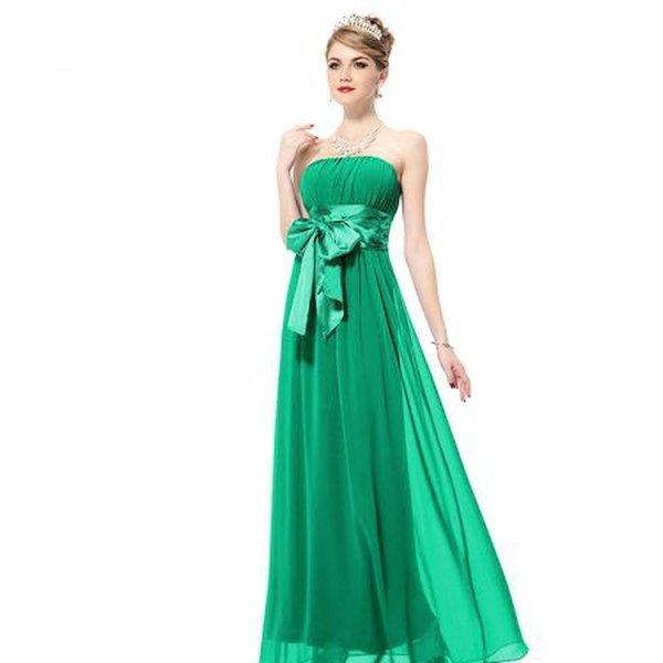 Женское вечернее зелёное платье с бантиком