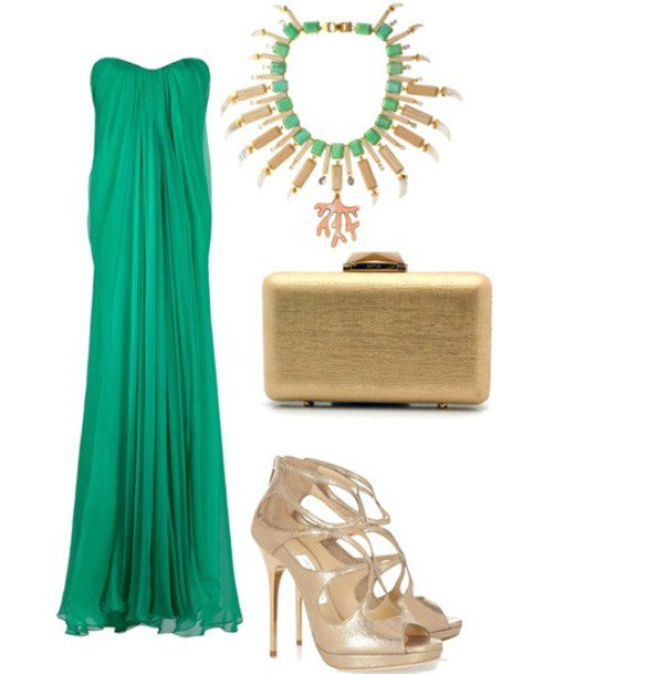 Зеленые платья с аксессуарами для полных женщин