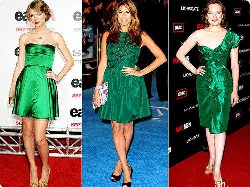 Знаменитости в зеленом платье и золотых и черных туфлях
