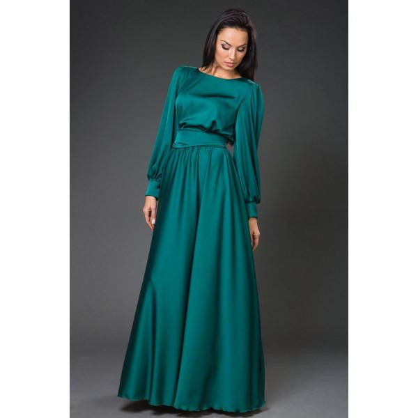 Атласное платье в пол