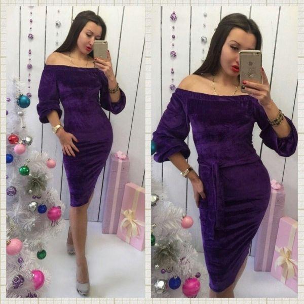 Бархатное платье,длина миди
