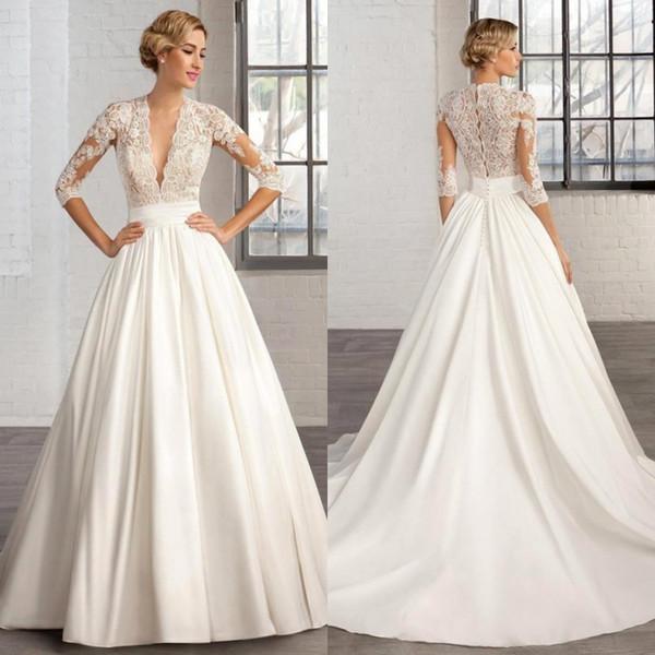 Белые атласные свадебные платья