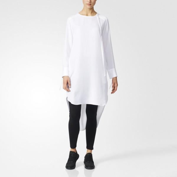 Белый цвет свободной рубашки-платья