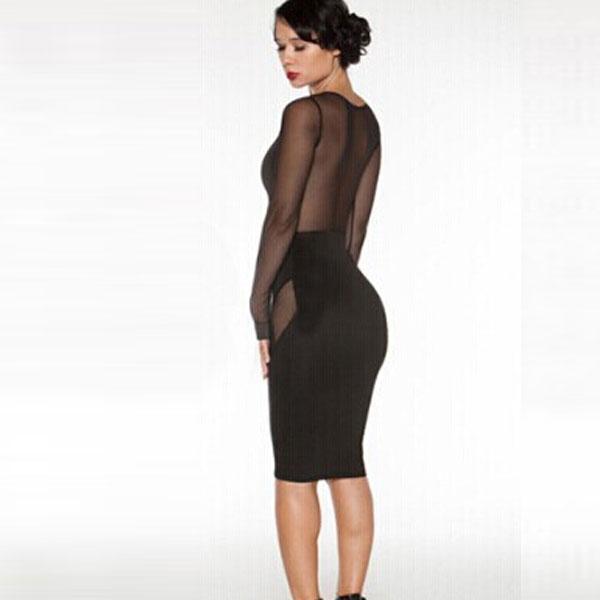 Черное платье-футляр с эротичными прозрачными вставками