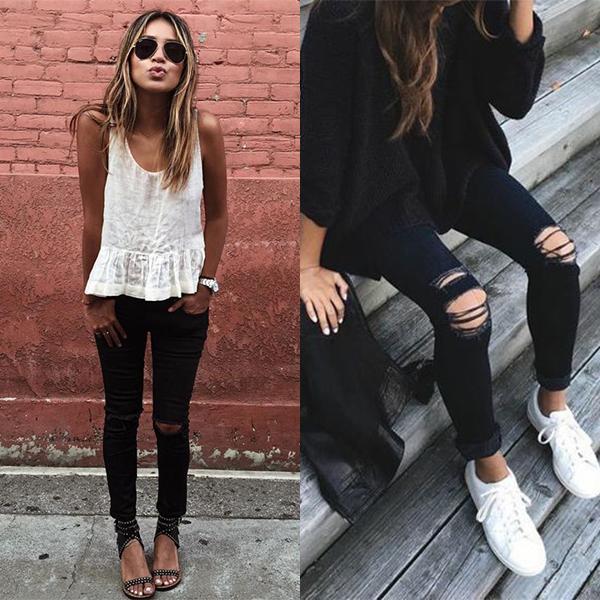 Черные штаны рваные