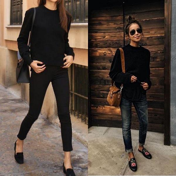 Черный свитер и джинсы
