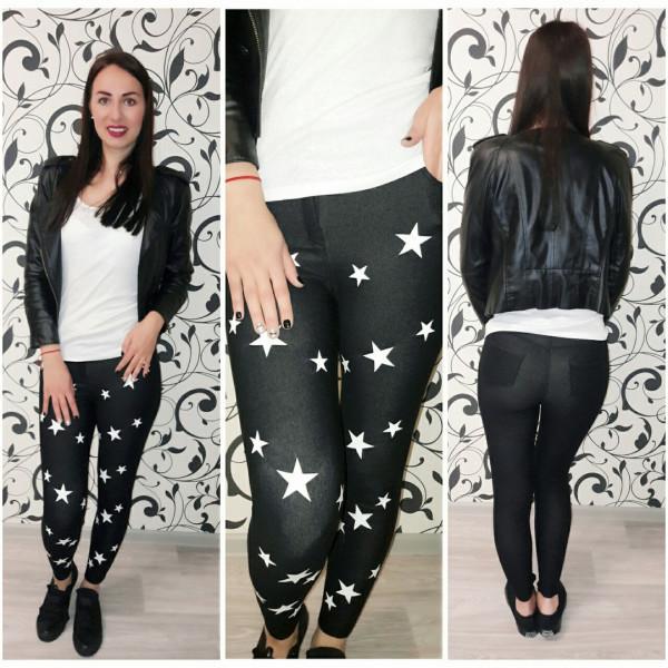 Декор звезды на черных джинсах