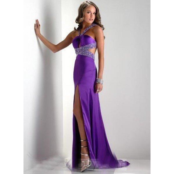 Длинное ексуальное фиолетовое платье открытой спиной